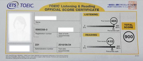 TOEICスコア900点の公式認定証